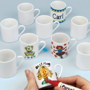 Mini Porcelain Mugs - 6 Mini Porcelain Mugs (5cm high) to paint and decorate