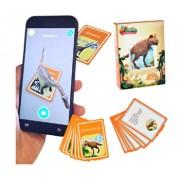 Cartonase pentru aplicatie telefon 3D, cartonase de invatare a dinozaurilor in engleza, set de 48 cartonase cu dinozauri si descrierea lor, joc de invatare si atentie pentru copii, AR animals