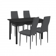 PremiumXL - [en.casa] Design blagovaonski set - stol sa 4 stolice (tamno sivi)