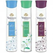 Yardley Jasmine Lace Satin Lace Pack of 3 Deodorants For Women