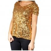 Glitter party kleding Gouden glitter pailletten disco shirt dames