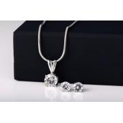 Platinum Plated White Crystal Pendant Set for Womens Buy Designer Imitation Jewellery Pendant Sets