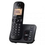Безжичен телефон Panasonic KX-TGC220FXB, черно-бял дисплей, черен