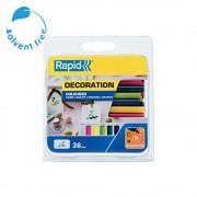 Baton silicon Rapid Decoratiuni Fun to Fix color Modern (albastru, galben, roz, verde si vernil), Universal, O7mm x 90mm, baza EVA, 36 buc blister 5001426