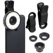Somikon 4in1-Vorsatz-Linsen-Set mit Weitwinkel, Makro, Fischauge und LED-Ring