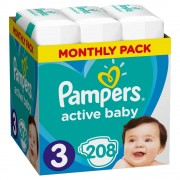 PAMPERS Active Baby dětské plenky vel.3, 6 - 10 kg 208 ks
