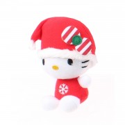 Jemini hello kitty kerstknuffel in bal pluche meisjes rood 10 cm