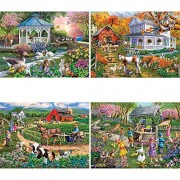 Bits and Pieces - Set of Four (4) 1000 Piece Jigsaw Puzzles for Adults - Forest and Farm Animal Scenes - 1000 pc Wildlife Jigsaws by Artist Mary Thompson
