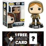 Jyn Erso (Hot Topic Exclusive): Funko POP! x Star Wars Vinyl Bobble-Head Figure w/ Stand + 1 FREE Official Star Wars Trading Card Bundle (104500)