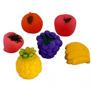 Creative Kids set of 6 Squeeze Fruit Toy (Realistic premium soft natural Ruber Squeeze Fruits Toy for Baby)