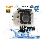 YONIS Caméra sport étanche 30m caméra action Full HD 1080p 12MP Or