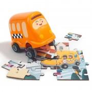 Puzzle din lemn Autobuzul scolii Topbright, 24 piese, 3 ani+