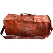 "Pranjals House (Expandable) genuine leather 24"" duffle bag Travel Duffel Bag(Brown)"