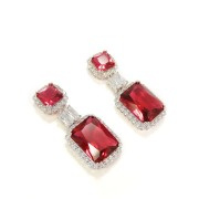 Brinco Luxo Festa Cristal Vermelho com Zircônias banho Ródio Branco