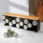 Laurel 14-Jar Spice Black Metal Spice Rack
