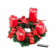 Britesta Couronne de l'Avent avec ornements rouges & 4 bougies à LED