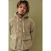 Urban Outfitters UO - Sweat à capuche de skate grège en velours côtelé et doublure en peau de mouton- taille: L