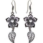 Lucky Jewellery Designer Black Metal Silver Oxidised Flower With Leaf Earring