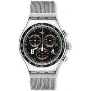 Swatch Black7053 Swatch Men's 'Irony Blackie' Quartz Stainless Steel Casual Watch, Color:Silver-Toned (Model: YVS401GB) Watch - For Men