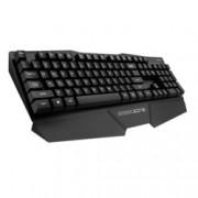 Клавиатура SHARKOON Shark Zone K15 SH0037, гейминг, високопрофилни клавиши, издължен корпус за удобство на китките, метална, позлатен конектор, черна, USB