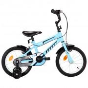 """vidaXL Bicicleta de criança roda 14"""" preto e azul"""
