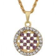 MissMister Gold Plated Round Shape Violet CZ and White CZ Fashion Chain Pendant Women Stylish Latest