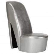 vidaXL Стол във форма на обувка на висок ток сребрист изкуствена кожа