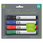 U Brands Low Odor Dry Erase Markers With Erasers Chisel Tip Assorted Classic Colors 4-Count