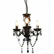 vidaXL Luster s perlama crni okrugli 3 x E14