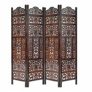 Shilpi Handicrafts Wooden Partition Leaf Design Decor Room Divider Screen Panel (4)