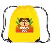 Bellatio Decorations Doggy Dog het hondje trekkoord rugzak / gymtas geel voor kinderen