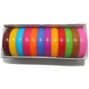 Beadsnfashion Plastic Colourful Broad Bangles Kada For Silk Thread Jewellery Making Full Box 12 Pcs Size22