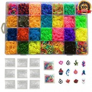 Kiserena Loom Refill Kit A Great Christmas Gift For Kids. Includes 7000 Loom Bands In 28 Colors: Tie Dye, Glow In The Dark, Neon And More + 350 S Clips + 12 Charms + 100 Beads + 1 Organizer Case