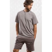 Pijama Masculino Mixte Adulto Camiseta Mescla e Bermuda Mescla Escuro