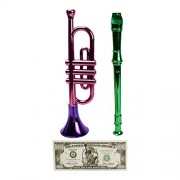 Toy Trumpet and Flute Recorder Musical Instruments, with Non-Negotiable Statue of Liberty Million Dollar Bill...