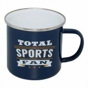 Retro emaljerad plåtmugg Sportsfan