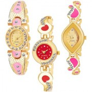 Varni Retail GoldPink Oval Diamond Red Round Dial Gold Cross Rectangle Gold Dial 3 Combo Watch For Girls