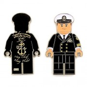 US Navy Lego Male Officer in Black Uniform, Chief Petty Officer (CPO) Chief Dress Mess Navy Chief, Navy Pride Challenge Coin M-BLK