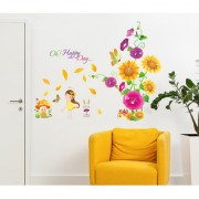 Wall Stickers Flowers Beautiful Flower Bouquet Happy Day Hall Entrance Decoration Colourful Vinyl
