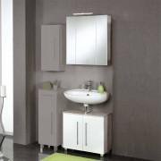 Badezimmer Kombination in Hochglanz Weiß Eiche Grau (2-teilig)