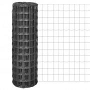 vidaXL Euro Fence szürke acélkerítés 25 x 1,2 m