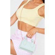 PrettyLittleThing Mini sac en similicuir vert menthe à anse unique nouée, Menthe - One Size