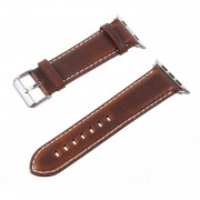 Vintage Oil Wax Genuine Leather Replacement Watchband for Apple Watch Series 4 44mm, Series 3 / 2 / 1 42mm - Brown