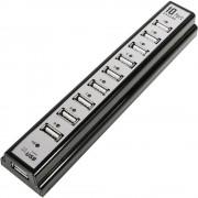 Razdjelnik sa 10 ulaz USB 2.0LogiLink, sa uređajem za punejnje, crne boje UA0096