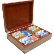 Дървена кутия Sapelle с 200 покер чипа без номинали