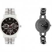 Crude Couple Combo of Analog Watch-rg316 With Stainless Steel Strap