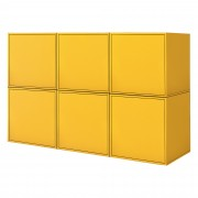 [en.casa]® Combinación de armario montada en la pared - 6 x estantería de pared combinado - color mostaza - Cómoda - Sideboard - armario con puerta - 135x30x90cm