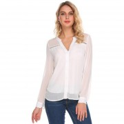 Camisa Gasa Sólida De Manga Larga Con Cuello En V Para Mujer -Blanco