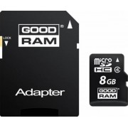 Card de memorie GOODRAM M40A, microSDHC, 8 GB, Clasa 4 + Adaptor SD