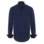 Giorgio Di Mare Worked Long Sleeved Shirt Navy GI6854069